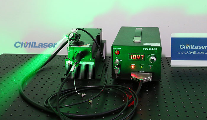 532nm 2000mW~5000mW Green Fiber coupled laser with power supply